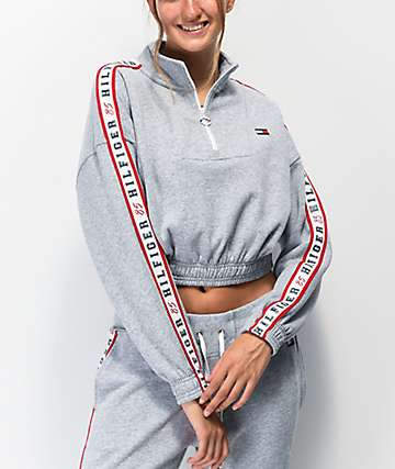 Tommy Hilfiger Tape Grey Half Zip Sweatshirt