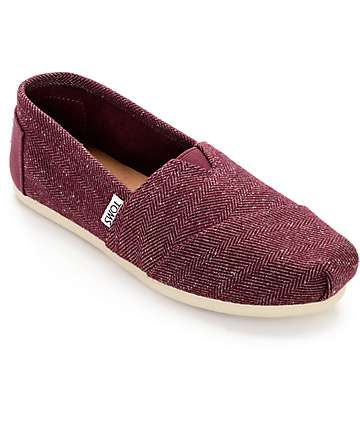 Toms Classic Herringbone Burgundy Womens Shoes