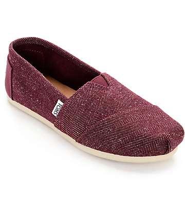 Toms Classic zapatos en espiga color borgoño (mujer)