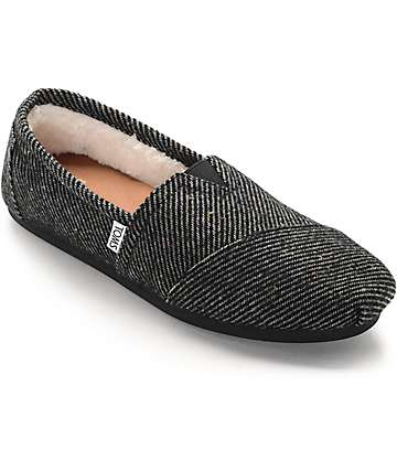 Toms Classics Black & White Speckled Wool Shearling Women's Shoes