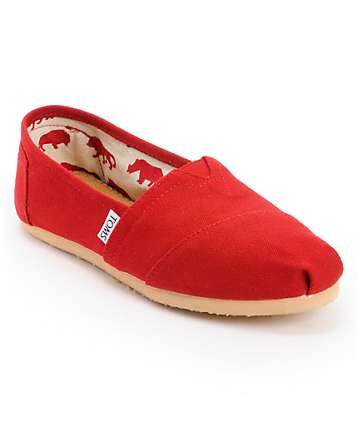 Toms Classics Canvas Red Slip-On Womens Shoe