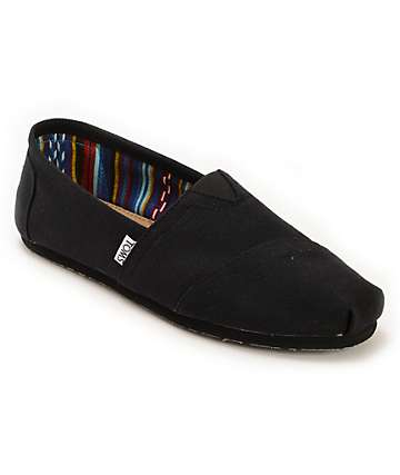Toms Classics zapatos sin cordones negro sobre negro (hombre)