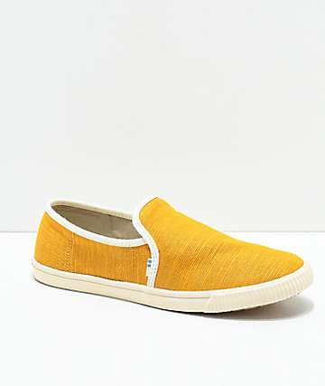 Toms Clemente Sunflower & White Slip-On Shoes