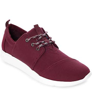 Toms Del Rey Burgundy Washed Canvas Shoes