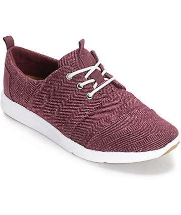 Toms Del Rey Herringbone zapatos de mujer en borgoña