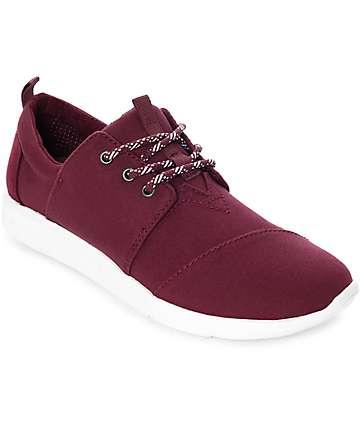 Toms Del Rey zapatos de lienzo en color vino