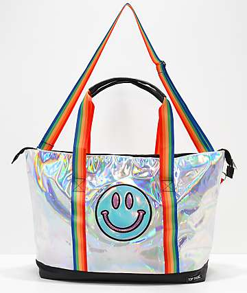 Top Trendz Smile Face Metallic Tote Bag