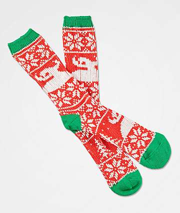 Toy Machine Ugly Sweater calcetines en rojo, blanco y verde