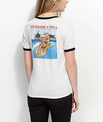 Toy Machine x RVCA Surfer Off White Ringer T-Shirt