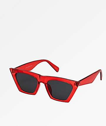 Trapezoid Red Sunglasses