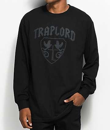 Traplord Crest Tonal Black Long Sleeve T-Shirt