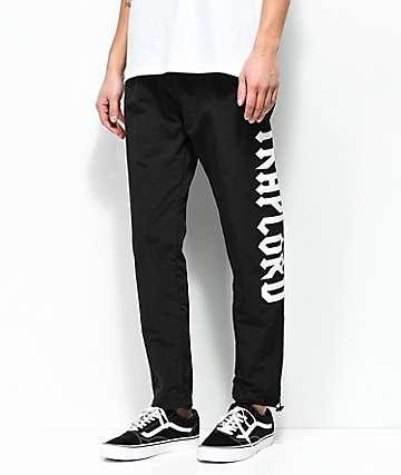 Traplord pantalones de chándal de nylon negro