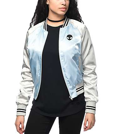 Trillium Alien Light Blue & Silver Satin Bomber Jacket