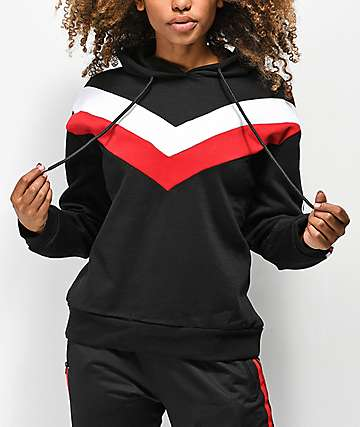 Trillium Black, Red & White Colorblock Hoodie