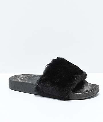 Trillium Black Fur Slide Sandals