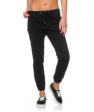 Trillium Black Twill Drawstring Jogger Pants