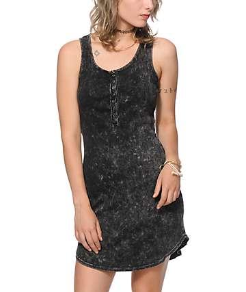 Trillium Charcoal Ribbed Tank Dress