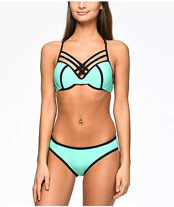 Trillium Colorblock bottom de bikini color menta