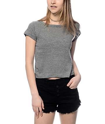 Trillium Dani V-Back Cutout Grey Crop T-Shirt