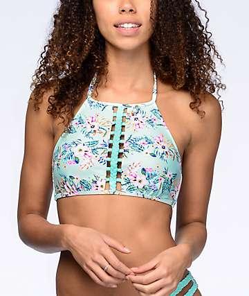Trillium Fresh Melody top de bikini con cuello alto en color menta floral