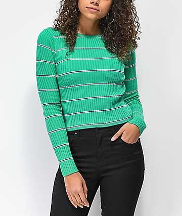 Trillium Green Stripe Fitted Sweater