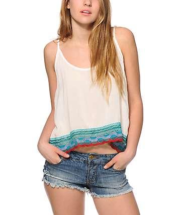 Trillium Jessie Crochet Trim Crop Tank Top