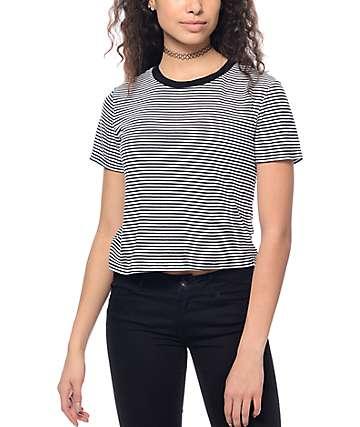 Trillium Milo Black & White Stripe Crop Ringer T-Shirt
