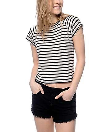 Trillium Miss Striped Grey Crop T-Shirt