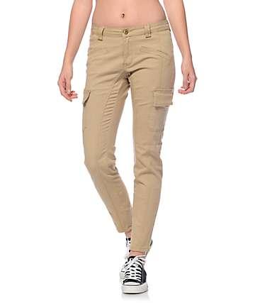 Trillium Nala Khaki Cargo Pocket Skinny Pants