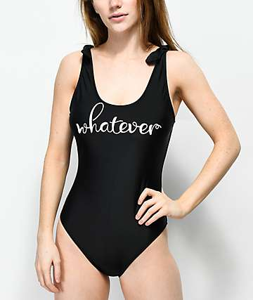 Trillium Whatever Bow Straps Black One Piece Swimsuit