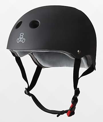 Triple Eight Certified Sweatsaver Black Rubber Multi-Sport Helmet