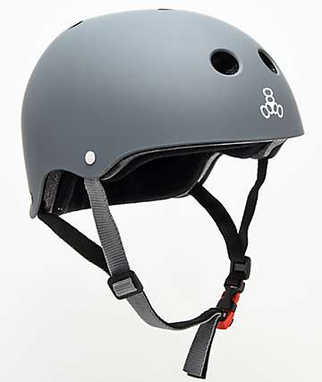 Triple Eight Sweatsaver Certified Grey Carbon Rubber Skateboard Helmet