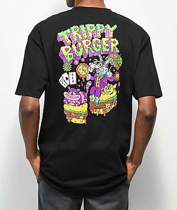 Trippy Burger Alice Black T-Shirt