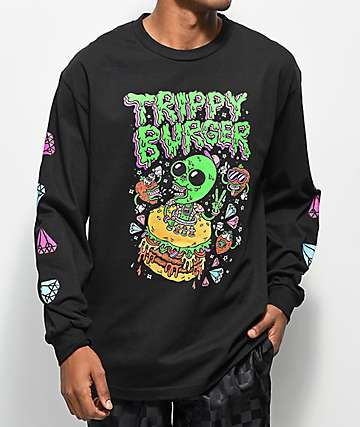 Trippy Burger Alien Snacks Black Long Sleeve T-Shirt