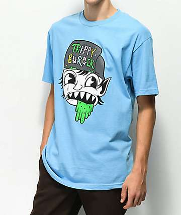 Trippy Burger Puke Head Light Blue T-Shirt