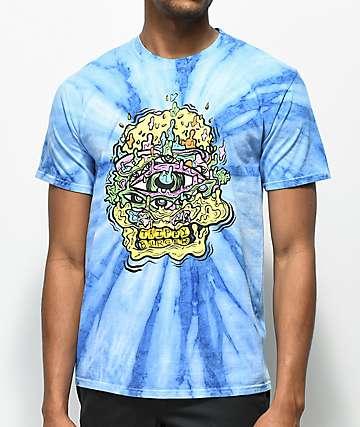 Trippy Burger Skull Burger camiseta azul con efecto tie dye