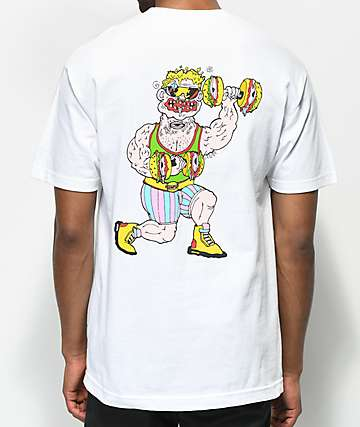 Trippy Burger Weights White T-Shirt