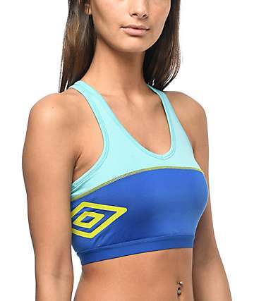 Umbro Aqua & Blue Padded Sports Bra