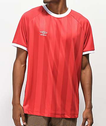 Umbro Vertical Stripe Red Soccer Jersey