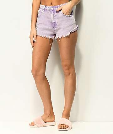 Unionbay Devo shorts morados con lavado acido