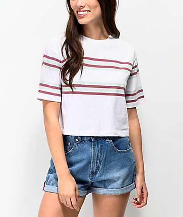 Unionbay Jane Stripe White Crop T-Shirt