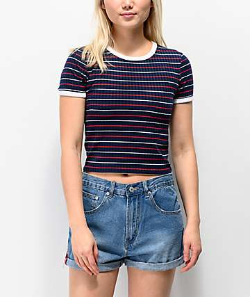 Unionbay Jones Ribbed Red, White & Blue Stripe Crop T-Shirt