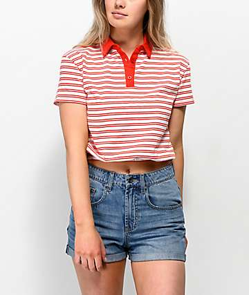Unionbay Juliette Red Stripe Polo Shirt
