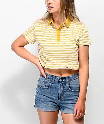 Unionbay Juliette Yellow Stripe Polo Shirt