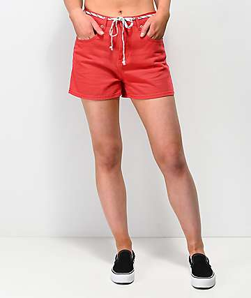 Unionbay Madonna Lace Belt Red Denim Shorts