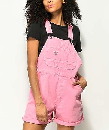 Unionbay Mario Pink Denim Overall Shorts