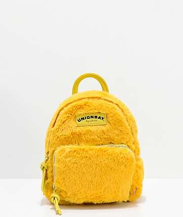 Unionbay mini mochila de pelo sintético amarillo
