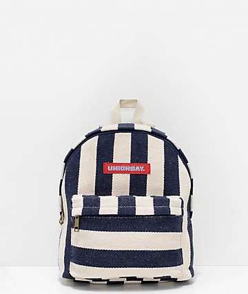 Unionbay mini mochila rayada blanca y azul marino
