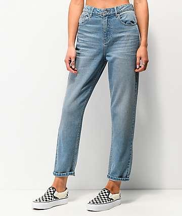 Unionbay mom jeans con de mezclilla azul claro