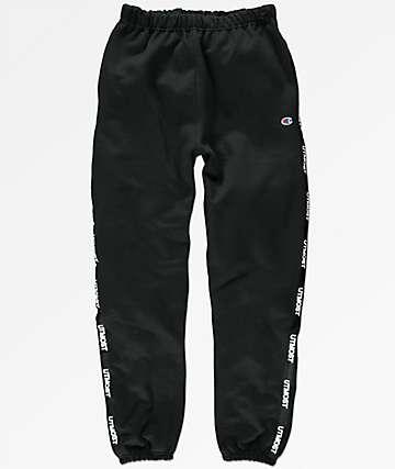 Utmost Co. Solid Logo Tape Black Sweatpants